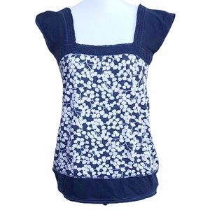 Abercrombie & Fitch Leaf Pattern Cap Sleeve Top